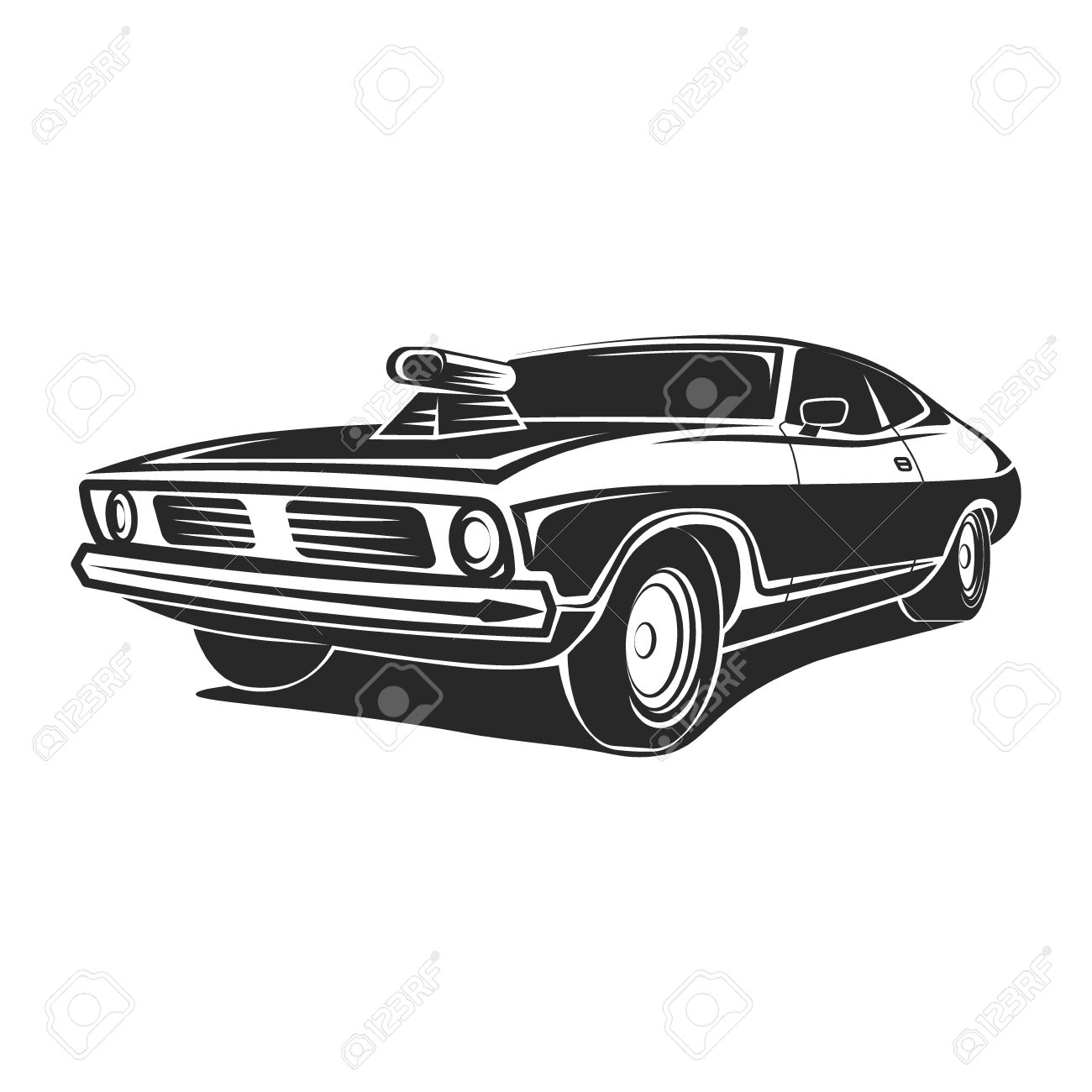 muscle car vector art poster t shirt illustration royalty free rh 123rf com Classic Car Outline Clip Art Mustang Car Clip Art