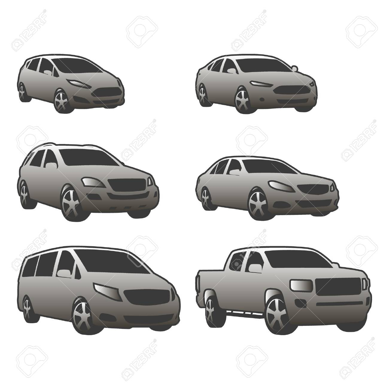 Vector set of various city urban traffic vehicles icons - 62152231