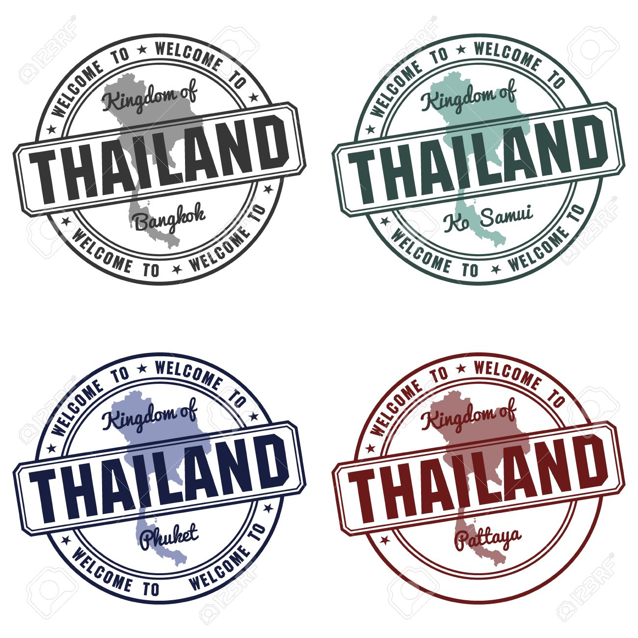 Passport Stamp And Made In Thailand Map Bangkok Vector Stock