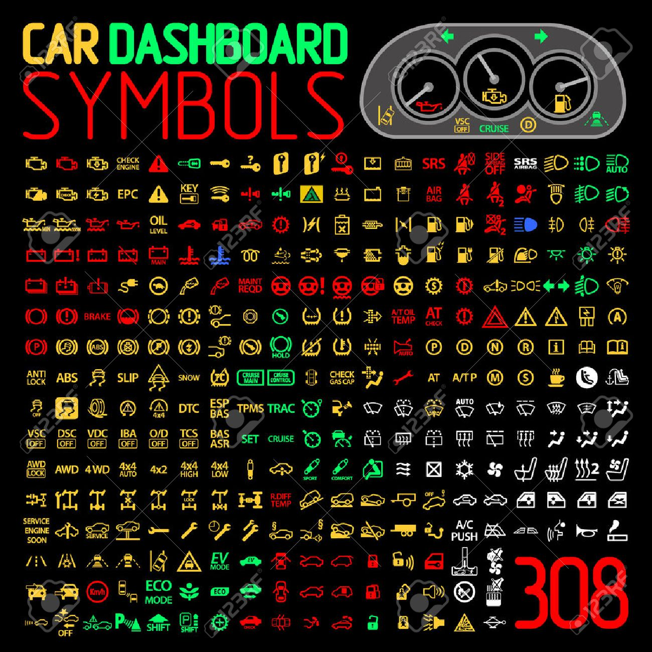 Car dash light symbols impremedia vector collection of car dashboard panel warning light indicators stock vector 63481862 biocorpaavc Choice Image