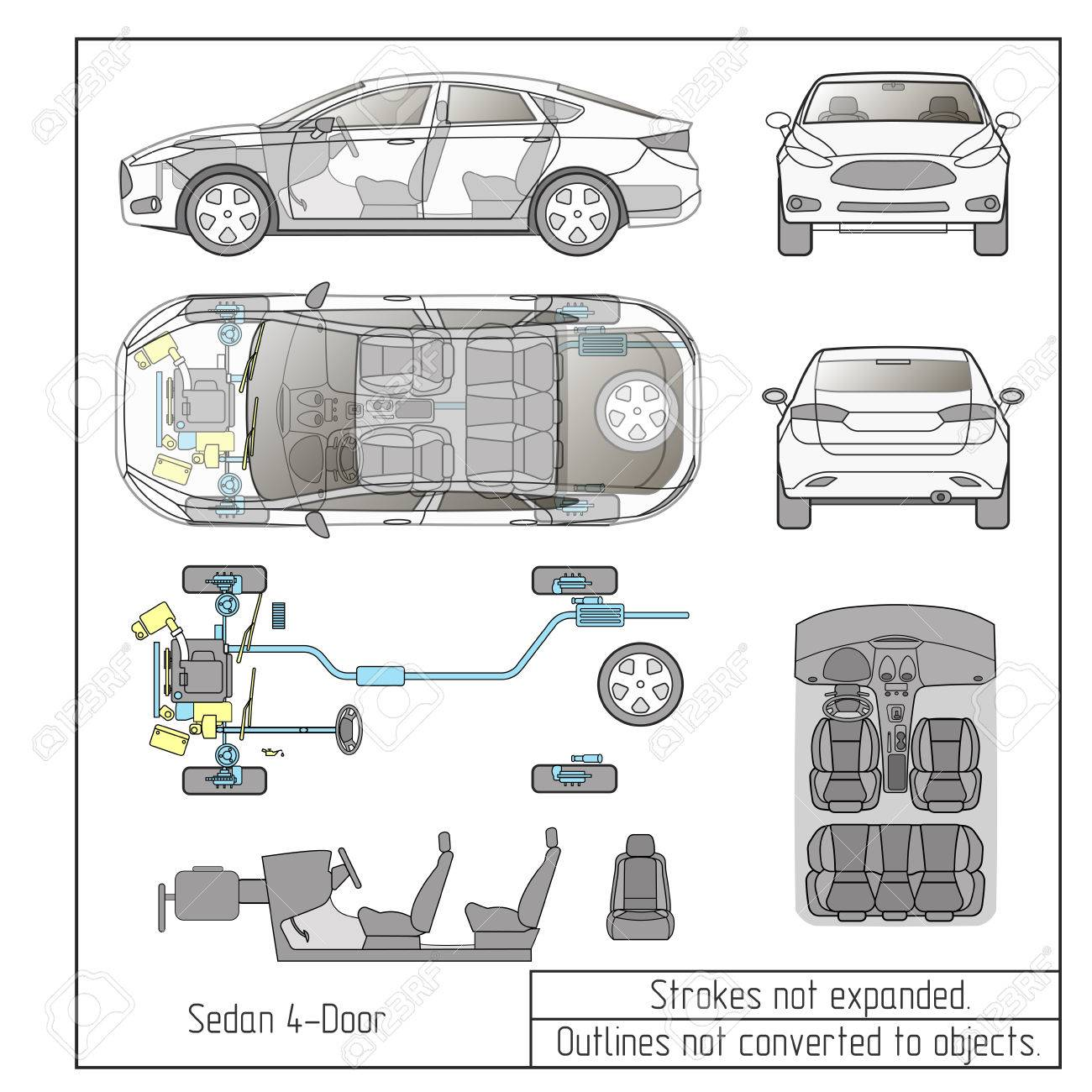 car sedan parts seats drawing outline strokes not expanded - 68629772