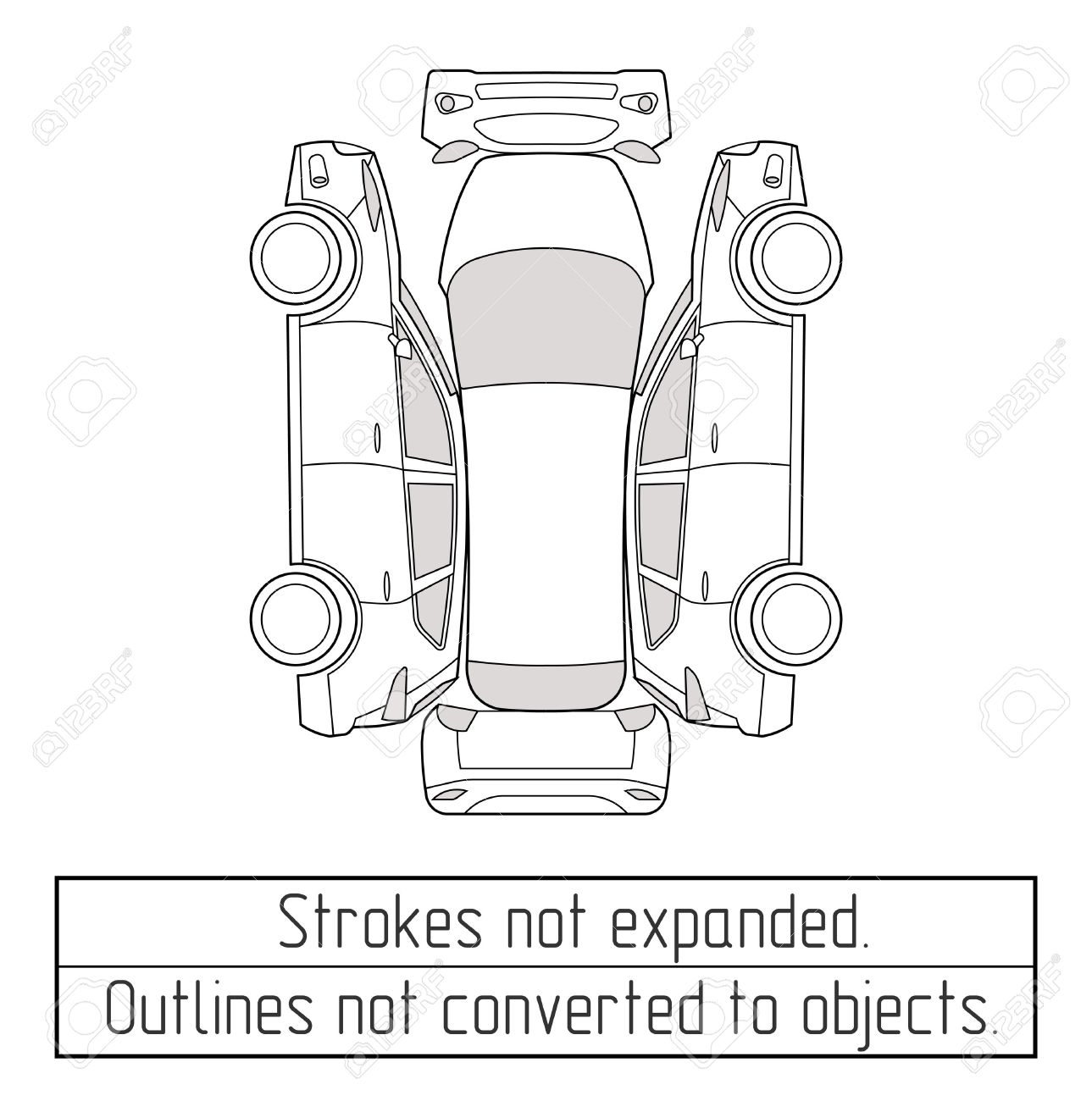 car suv nspectoin form drawing outline strokes not expanded - 70446606