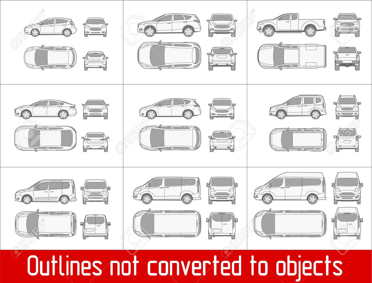 Car sedan and suv drawing outline strokes not expanded - 71671378