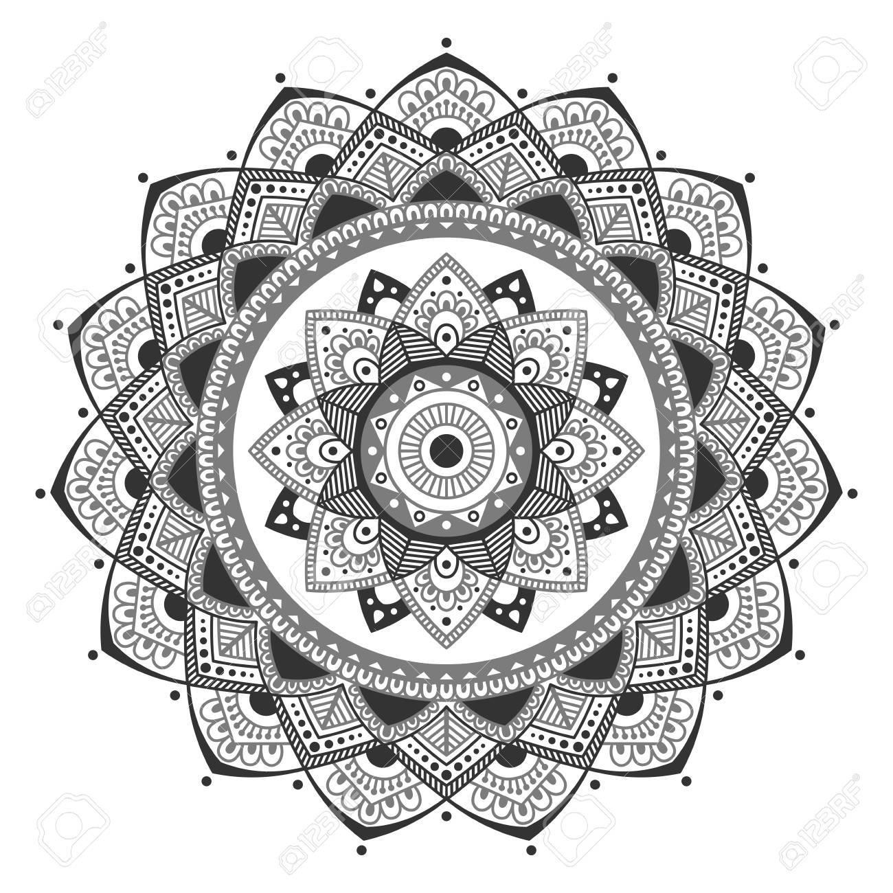 Mandala. Colorear Las Páginas Del Libro. Medallón Antiestrés Indio ...