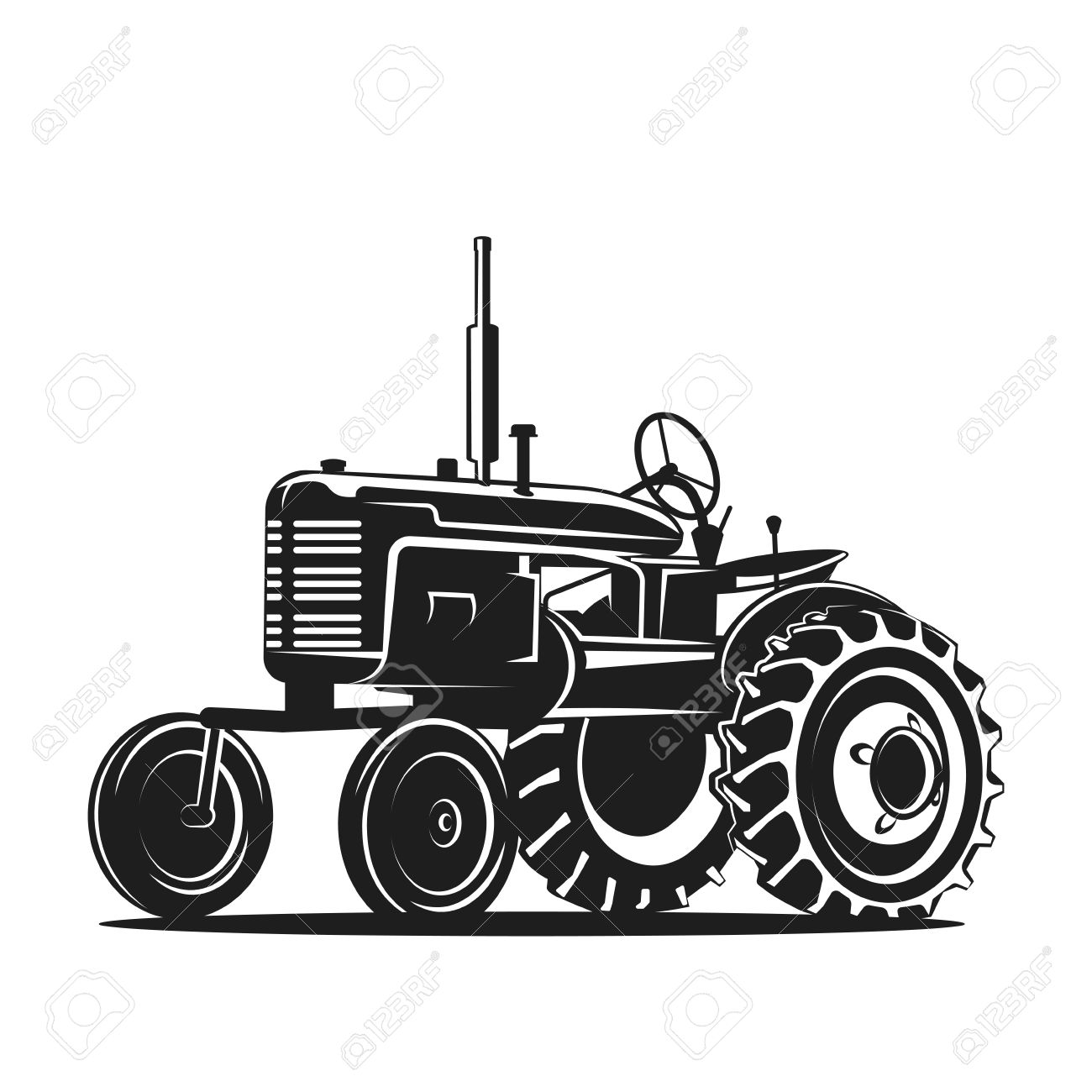 Black Old Tractor Silhouette On White Background Stock Vector