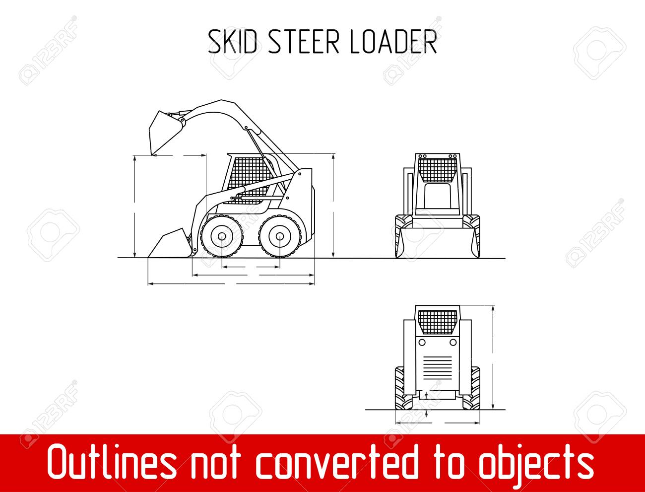 Mini Loader Overall Dimensions Blueprint Template Illustration ...