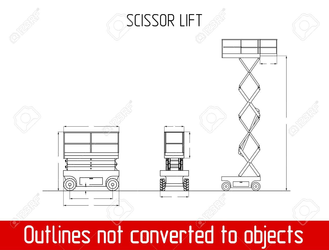 Scissor Lift Overall Dimensions Blueprint Template Illustration ...