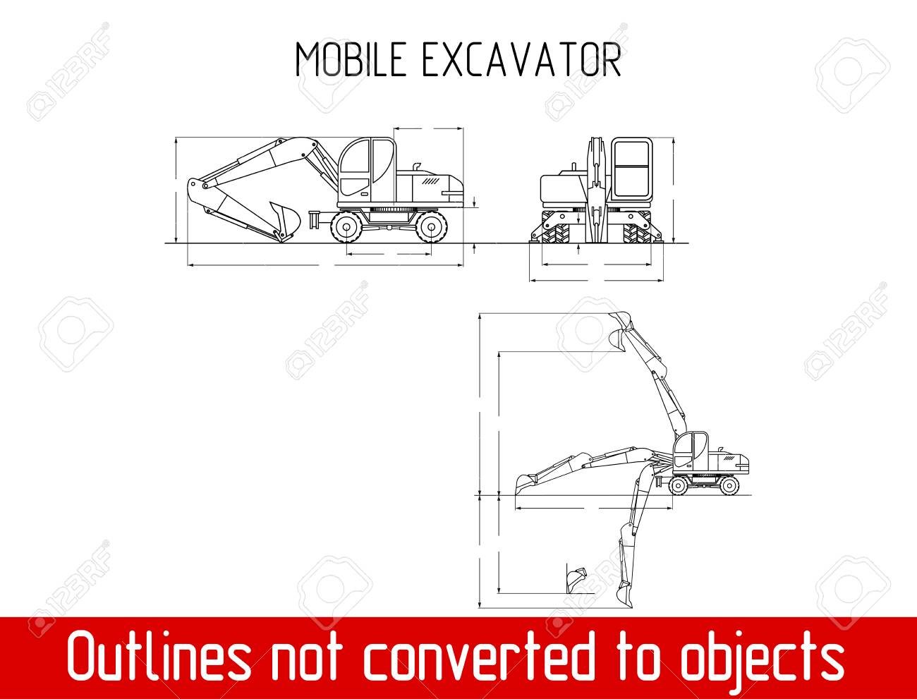 Typical Mobile Excavator Overall Dimensions Blueprint Template ...