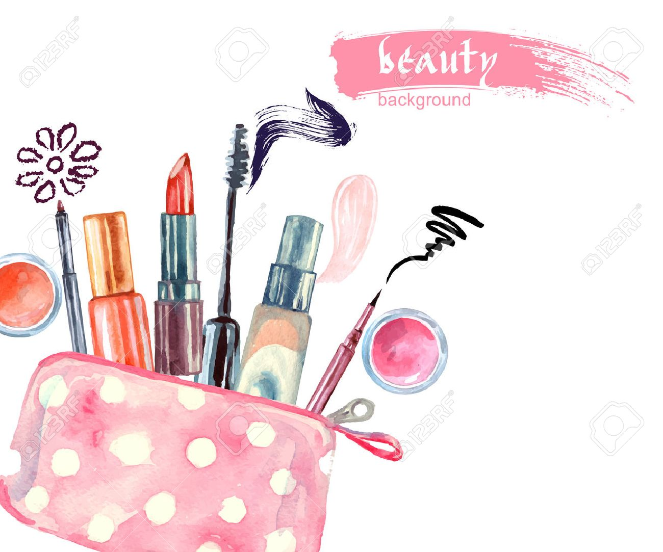 Watercolor cosmetics pattern. with cosmetic bag and make up artist objects: lipstick, eye shadows, eyeliner, concealer, nail polish. Vector illustration. - 51867375