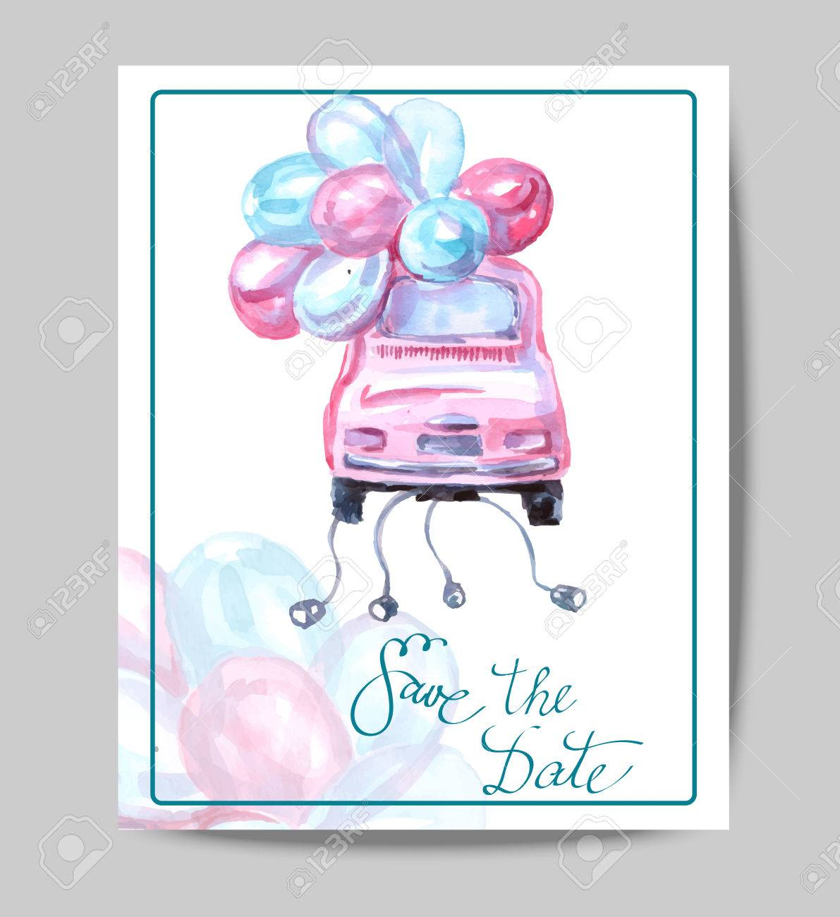 Save The Date With Watercolor Retro Car. Wedding Invitation Card ...