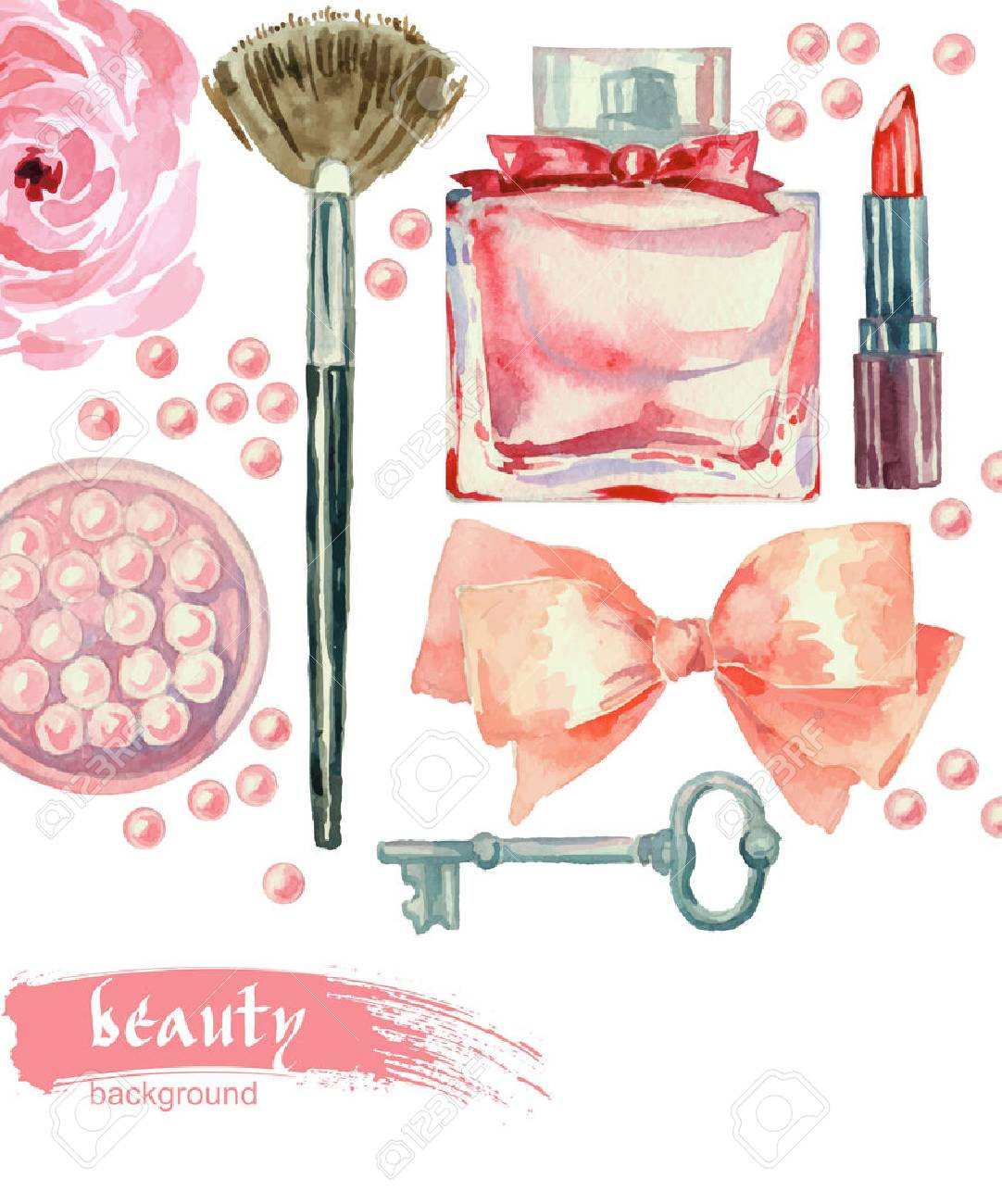 Watercolor fashion and cosmetics background with make up artist objects: lipstick, blush, bow, key, brushes. Vector beauty background Stock Vector - 51867386