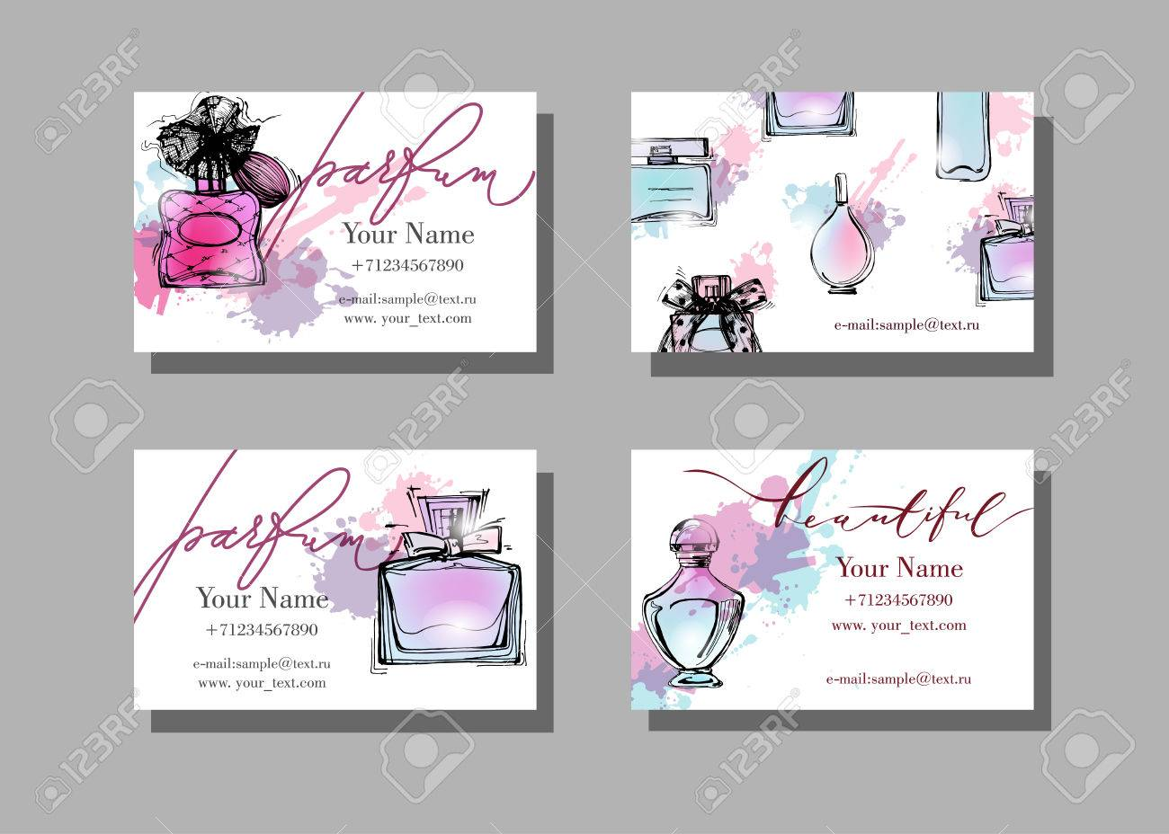 Makeup Artist Business Card. Vector Template With Beautiful Perfume ...