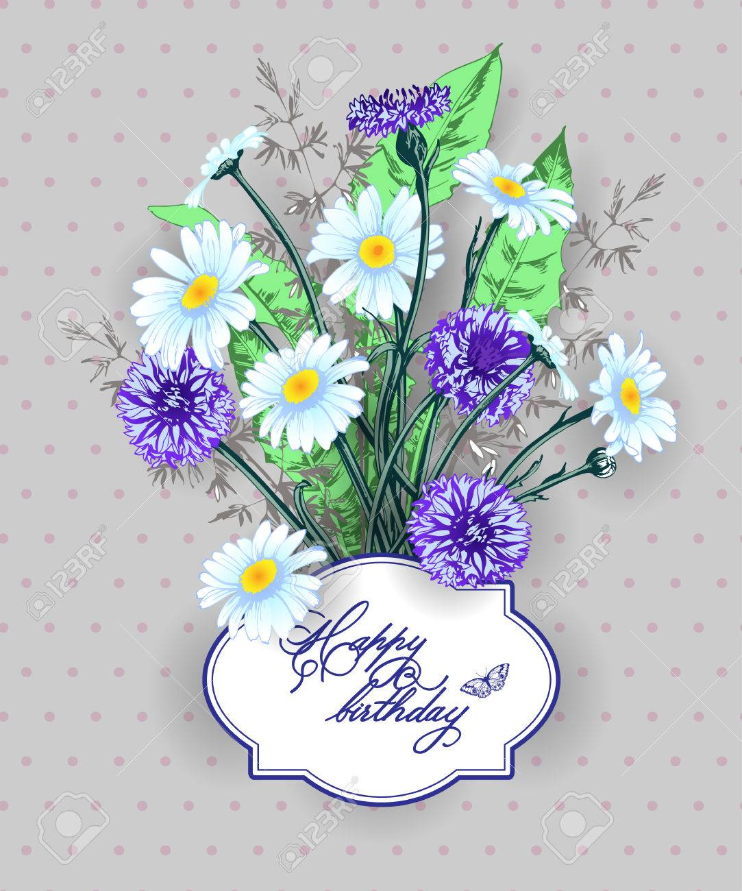 Vintage birthday you card wild flowers daisies cornflowers vector vintage birthday you card wild flowers daisies cornflowers grass use for boarding pass thank you card invitations template vector izmirmasajfo