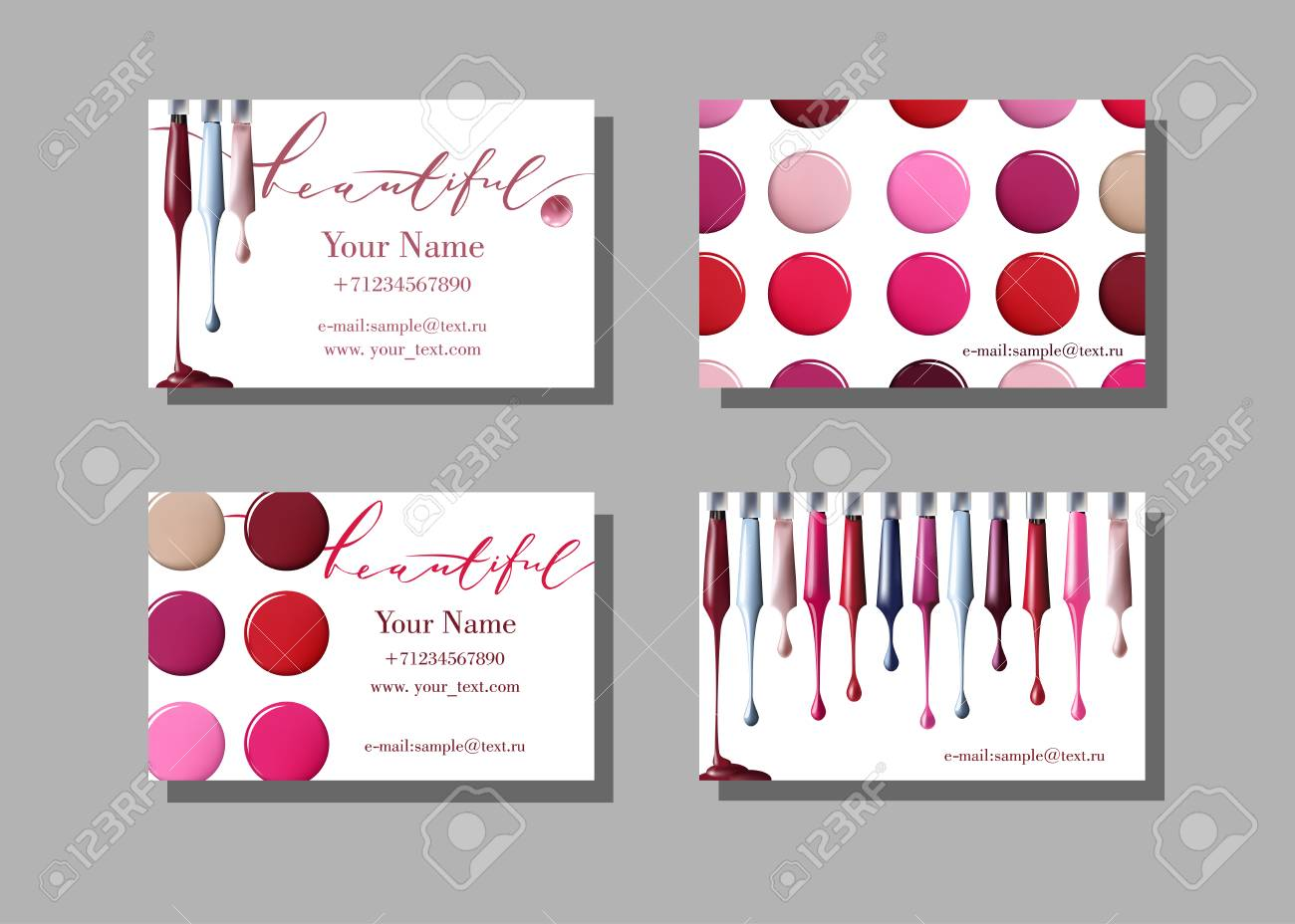 Makeup Artist Business Card. Vector Pattern With Cosmetic Elements ...