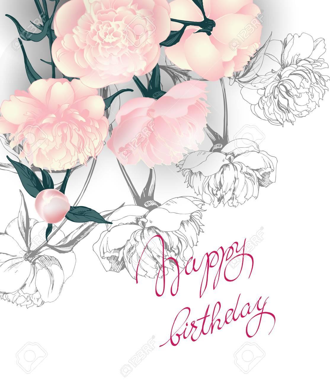 Geburtstagskarte Mit Mit Blühenden Rosen. Verwenden Sie Für Boarding ...