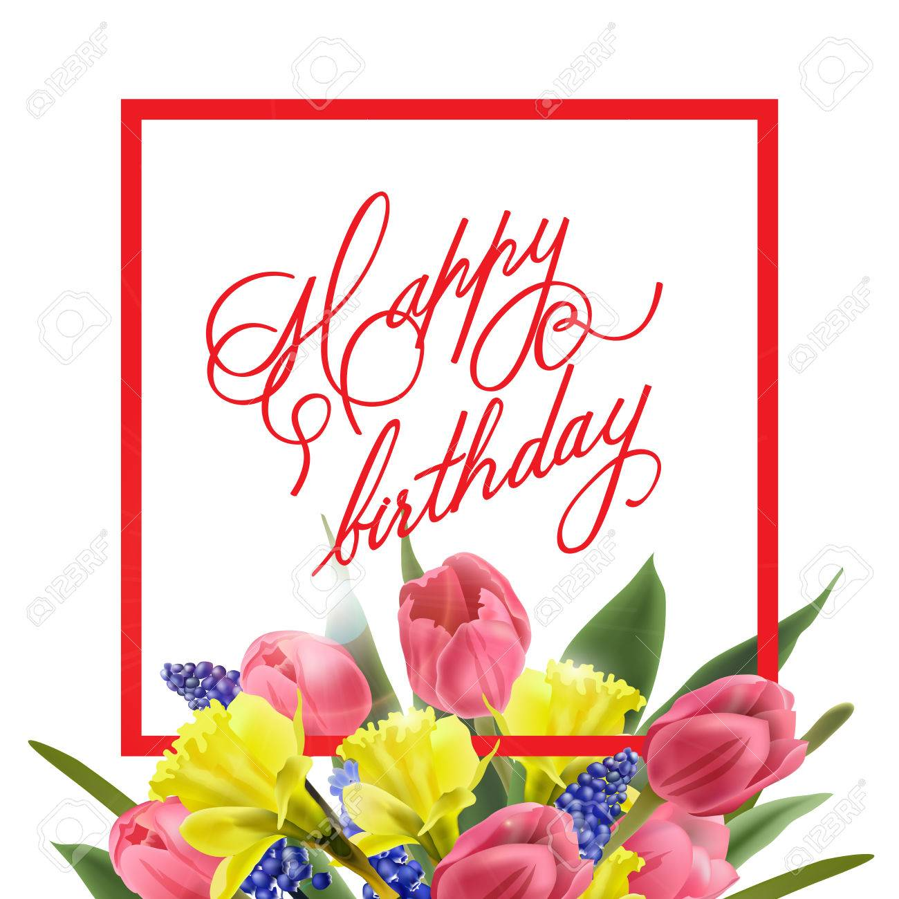 Happy Birthday Card With With Spring Flowers Tulips Daffodils