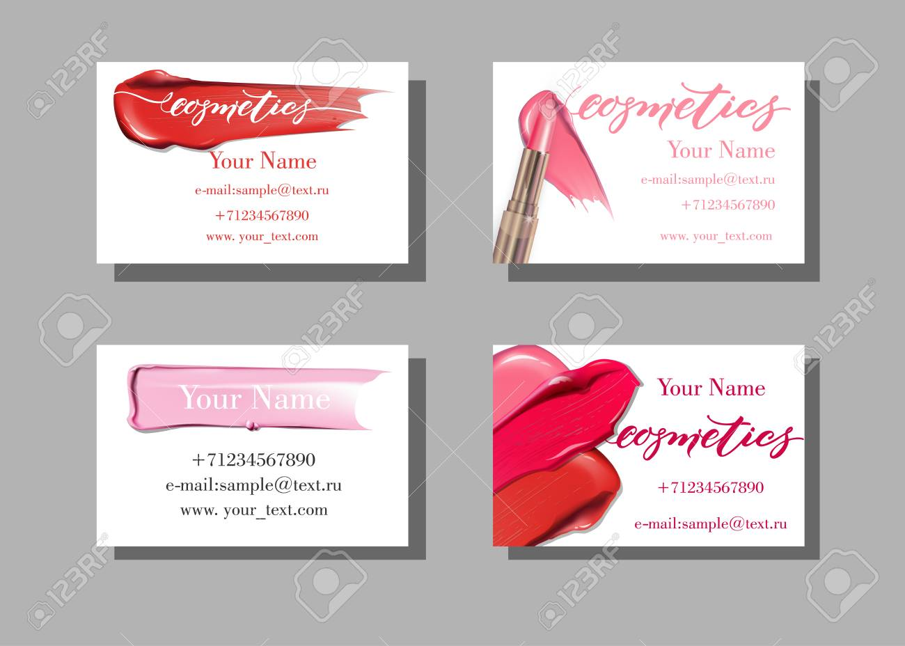 Makeup artist business card vector template with makeup items makeup artist business card vector template with makeup items pattern smears lipstick fashion alramifo Image collections