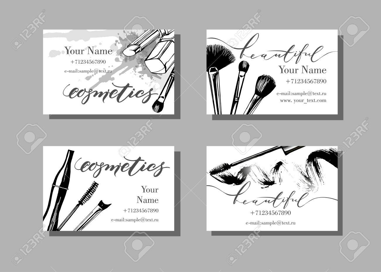 Makeup Artist Business Card Vector Template With Makeup Items - Eyeshadow template