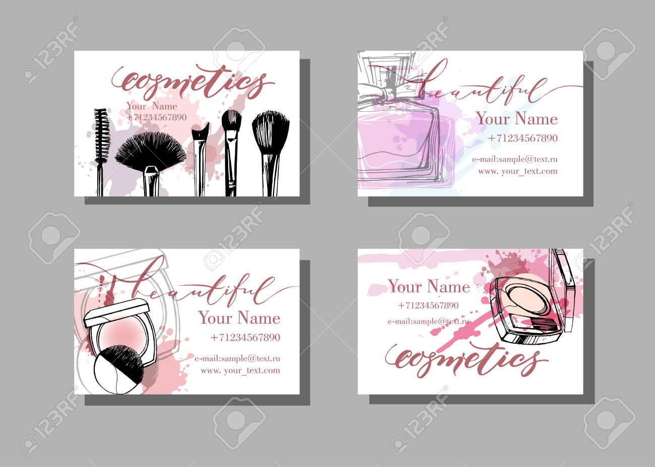 makeup artist business card vector template with makeup items pattern fashion and beauty background