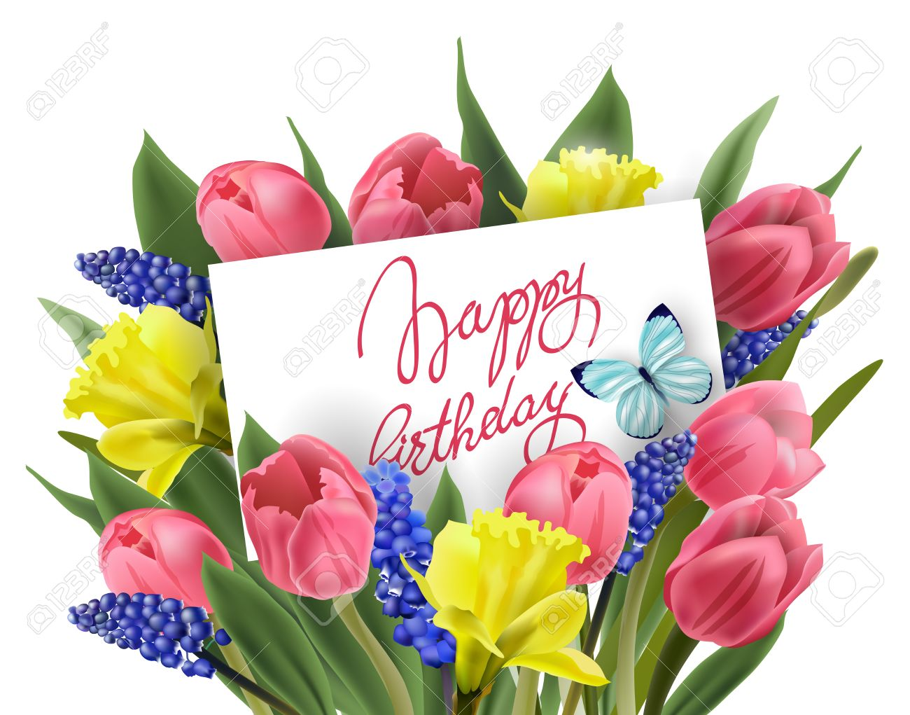 Happy Birthday Greeting Card With Bouquet Of Spring Flowers Tulips Daffodils MuscariVector