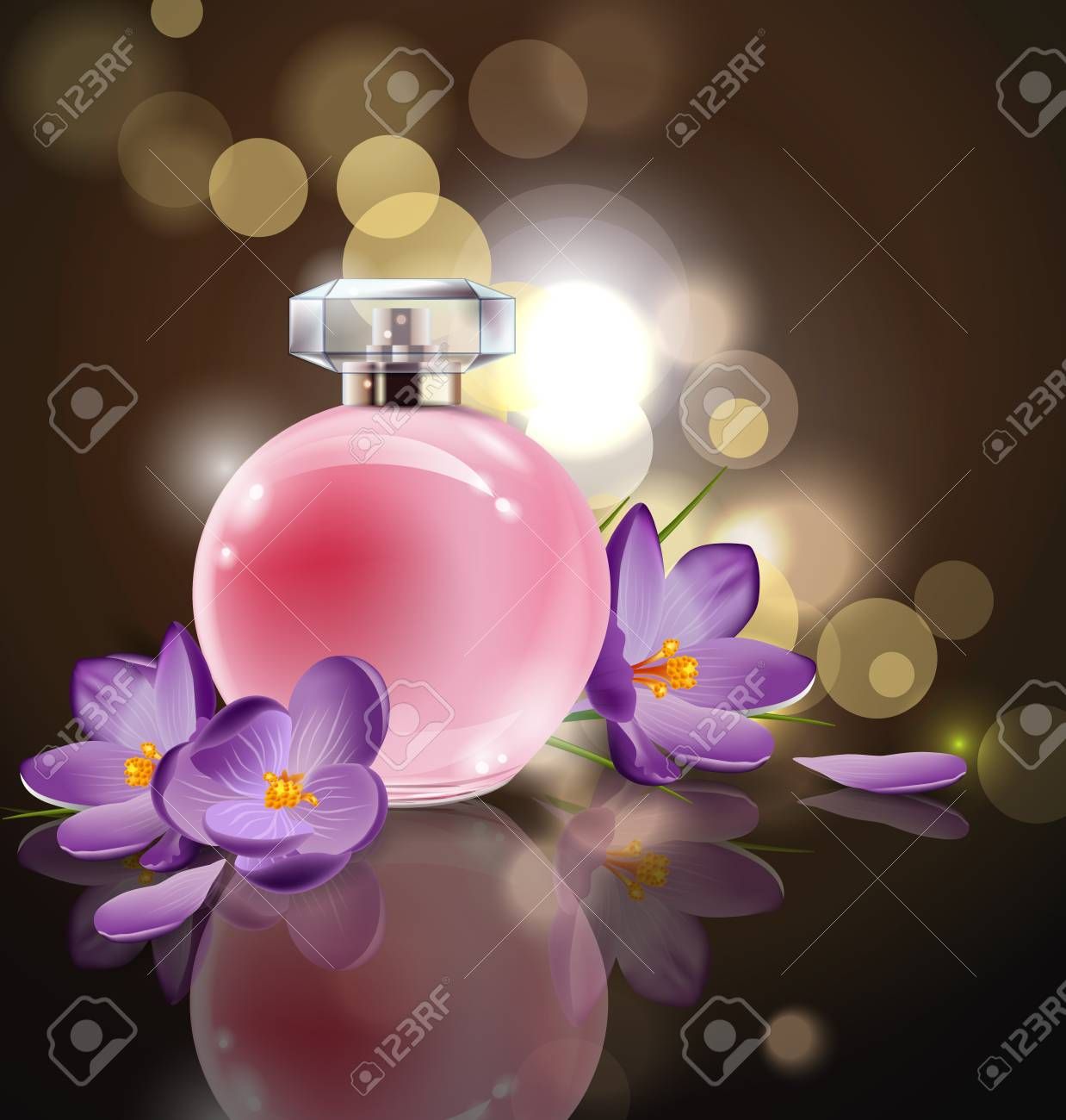 Pink Bottle Womens Perfume With Spring Flowers Crocuses On Blurred