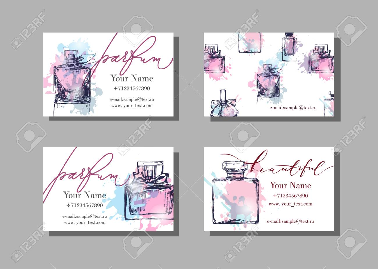 Makeup artist business card vector template with beautiful perfume makeup artist business card vector template with beautiful perfume bottle fashion and beauty background reheart Gallery