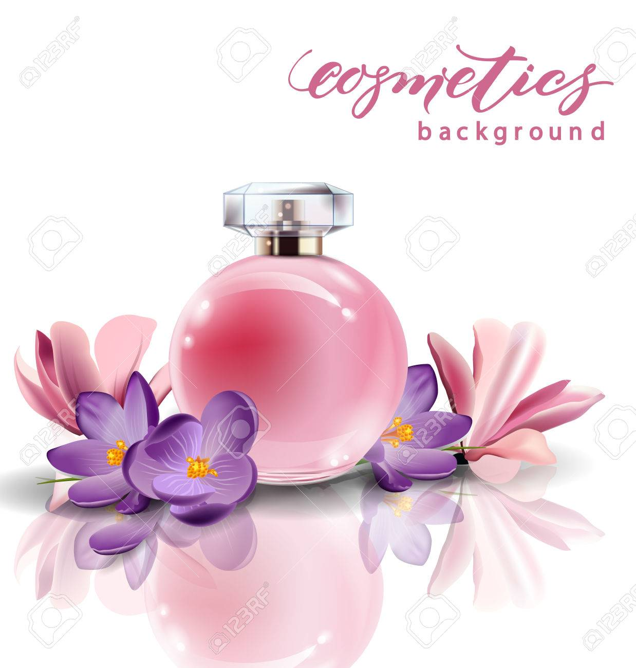Pink Bottle Womens Perfume With Spring Flowers Crocuses Vector