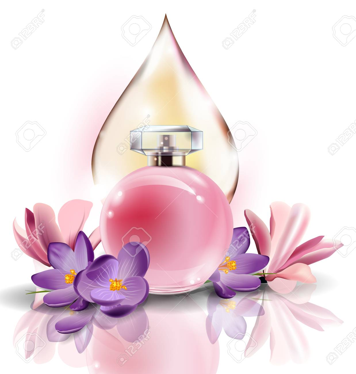 Pink bottle womens perfume with spring flowers crocusesand with pink bottle womens perfume with spring flowers crocusesand with a drop of pink color vector mightylinksfo