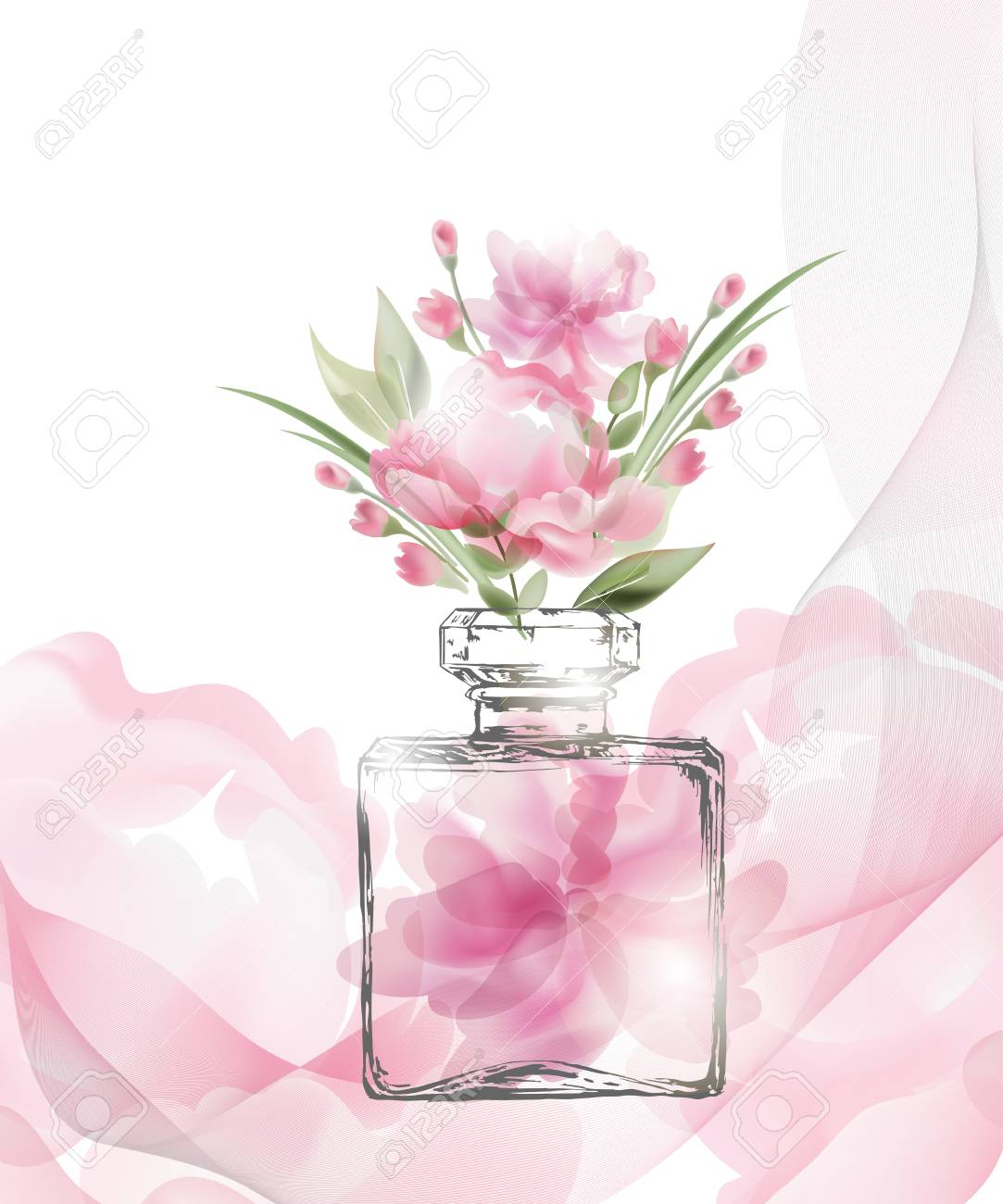 Beautiful perfume bottle with blooming beautiful pink flowers beautiful perfume bottle with blooming beautiful pink flowers beautiful and fashion background template vector mightylinksfo