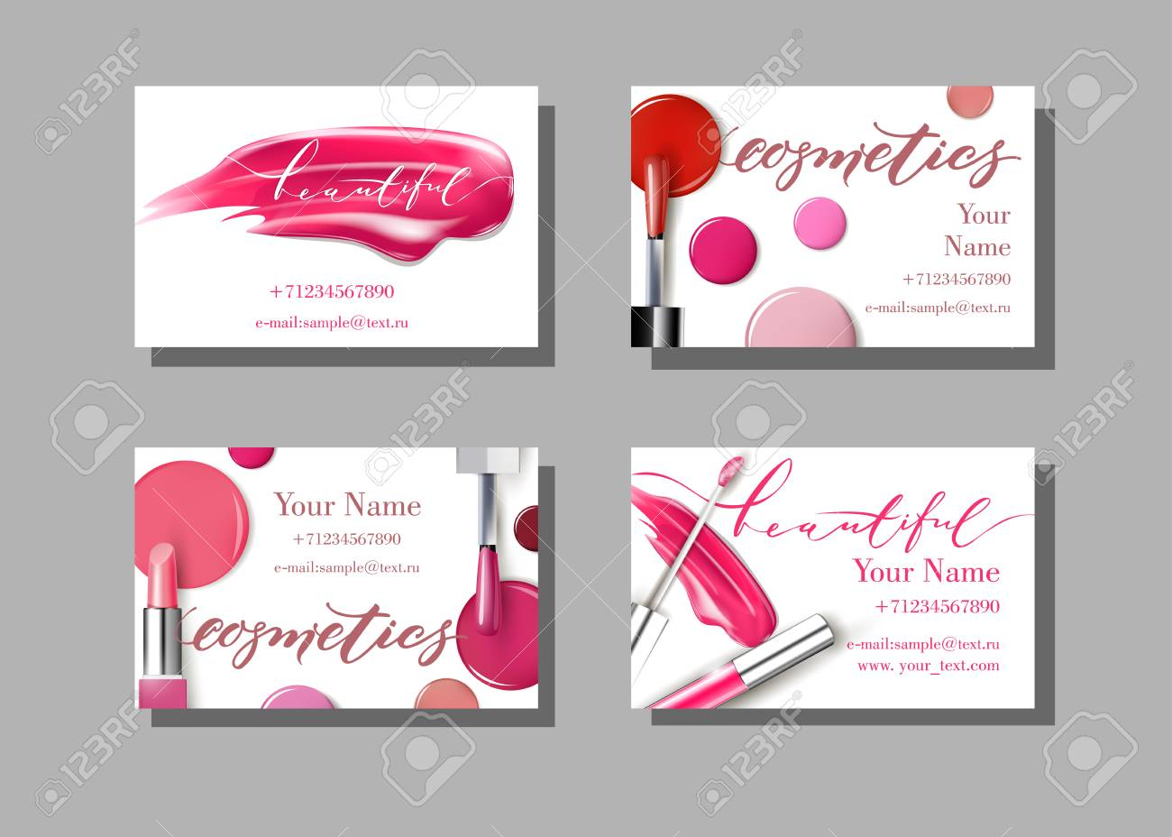 Makeup artist business card vector template with makeup items makeup artist business card vector template with makeup items pattern lipstick fashion and reheart Images