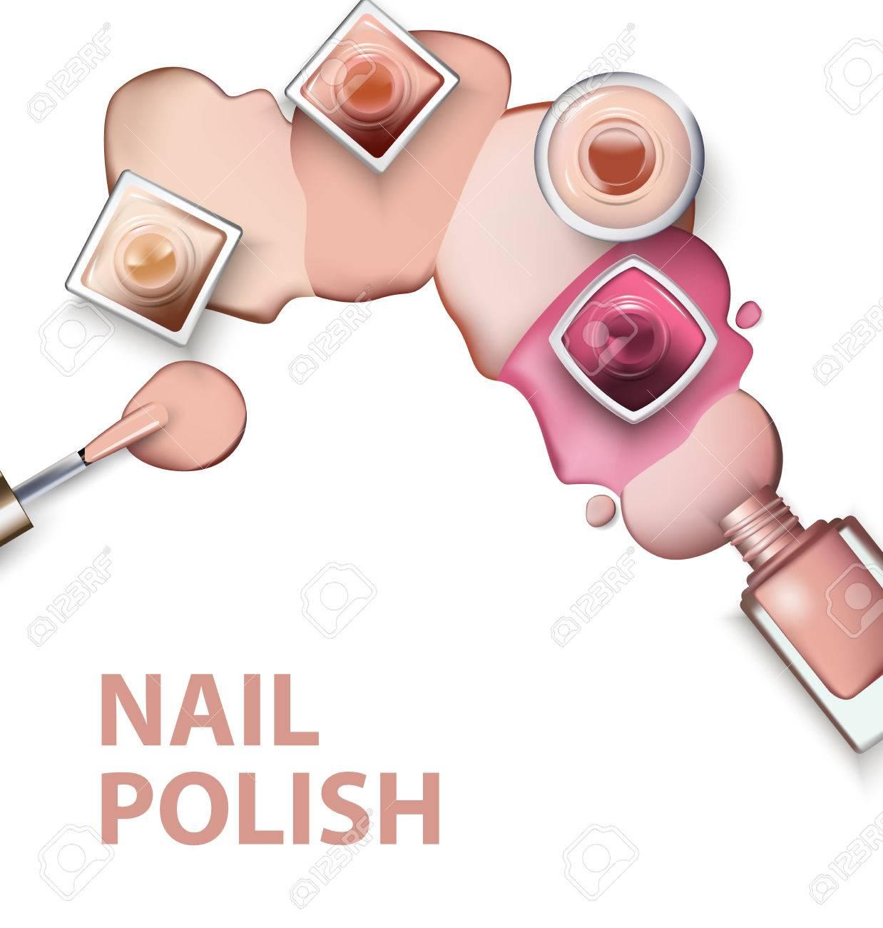 Close Up Of Nail Polish With Drops Of Nail Polish Light Pastel ...