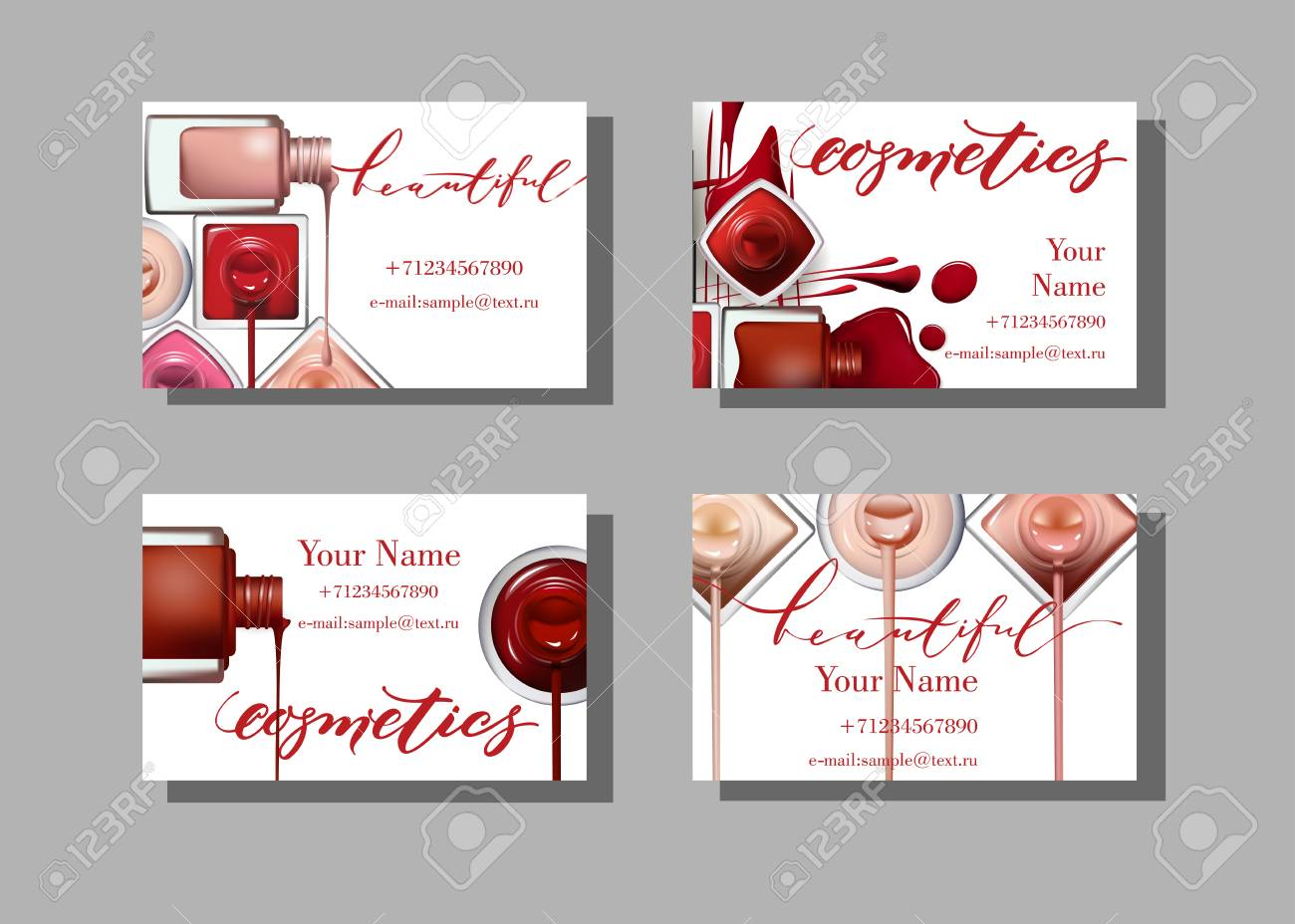 Makeup artist business card vector template with makeup items makeup artist business card vector template with makeup items pattern nail polish fashion and flashek Images