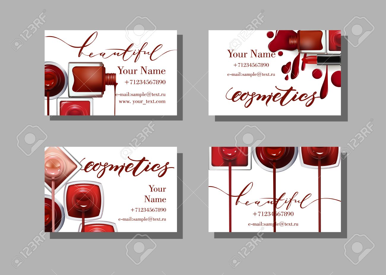 Makeup artist business card vector template with makeup items makeup artist business card vector template with makeup items pattern nail polish fashion and colourmoves