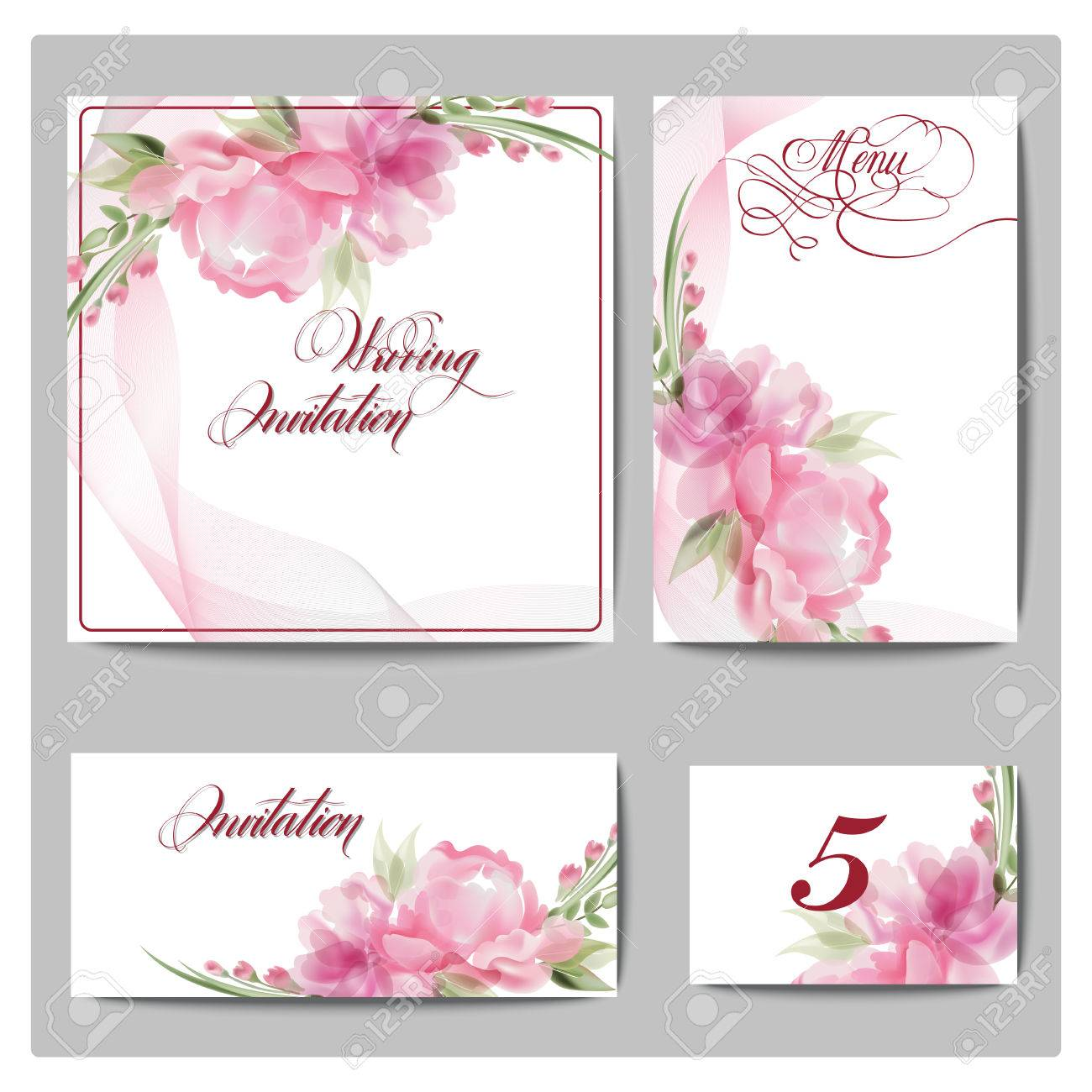 Wedding Invitation Cards With Blooming Flowers Use For Boarding