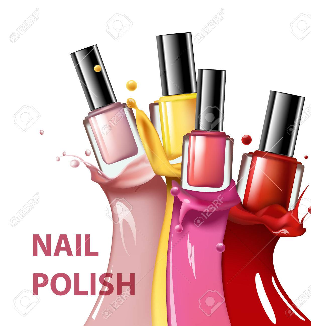 Colorful Nail Lacquer, Nail Polish Splatter On White Background ...