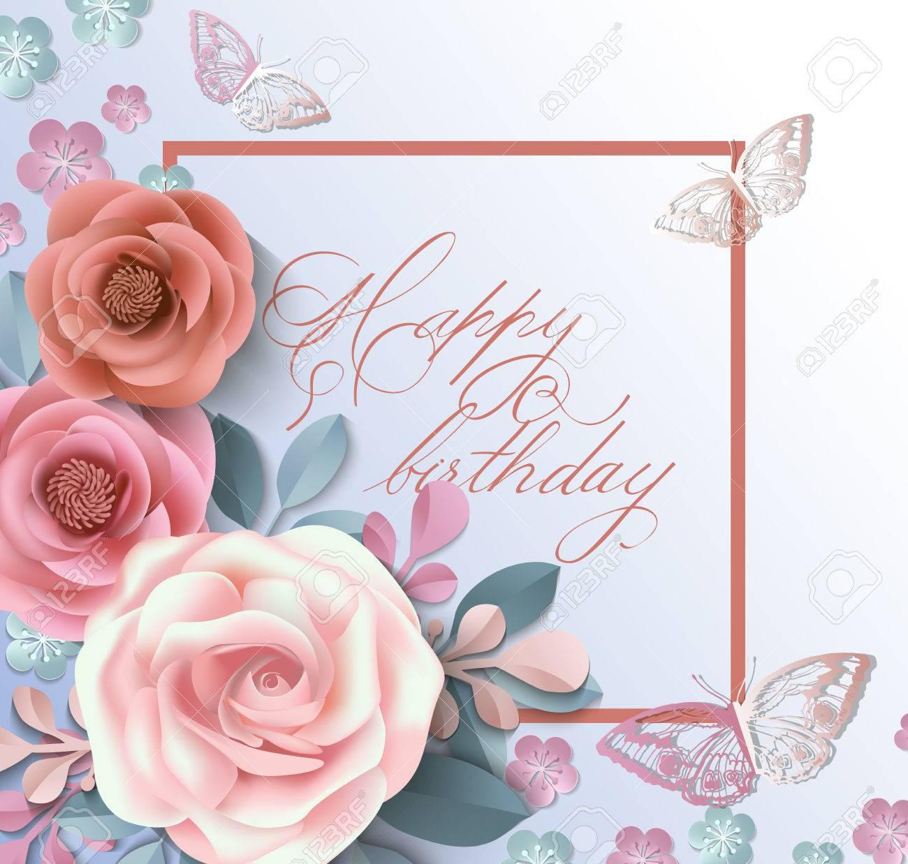 Carte De Joyeux Anniversaire Avec Des Fleurs En Papier L