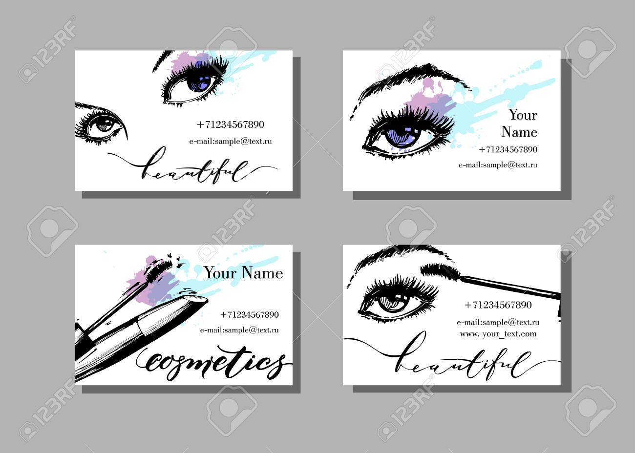 makeup artist business card vector template with makeup items pattern with beautiful female eyes