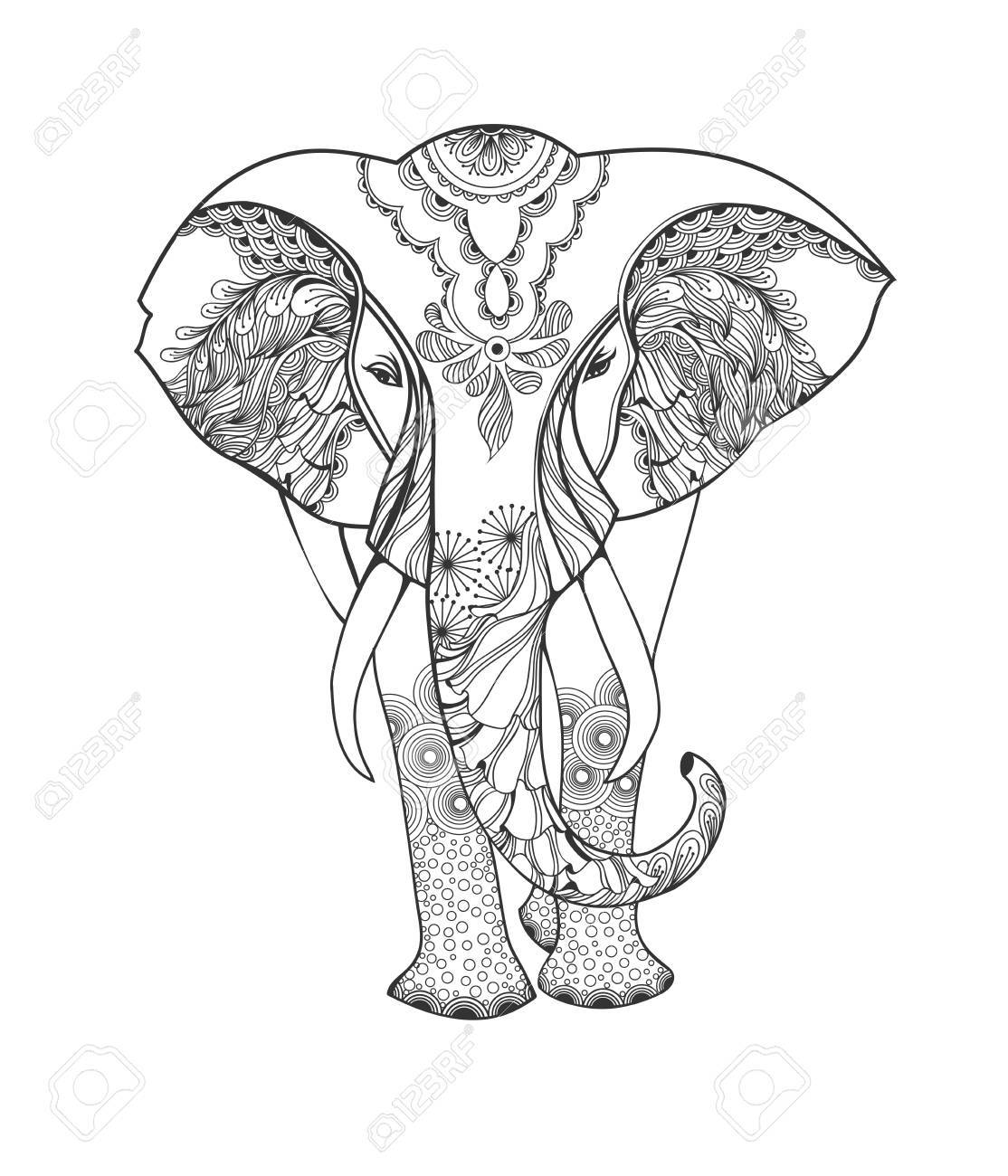 Zentangle Animal. Stylized Fantasy Patterned Elephant. Hand Drawn ...