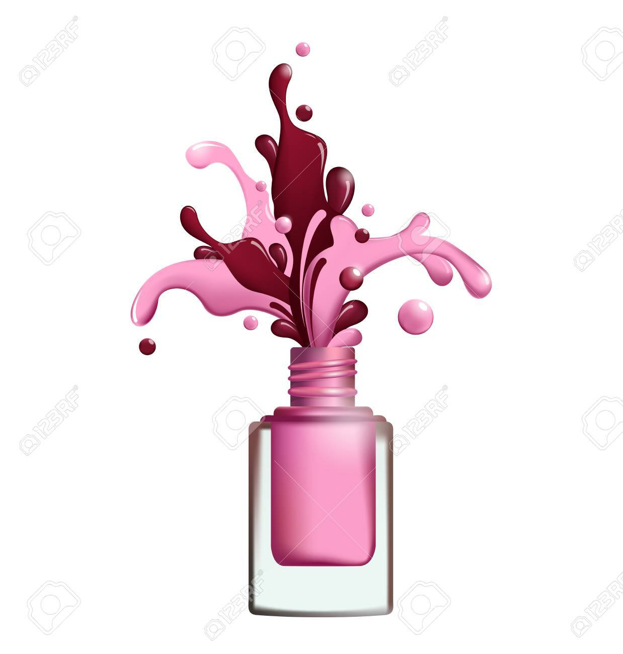 Splashes Of Nail Polish Froze In Motion On White Background Vector ...