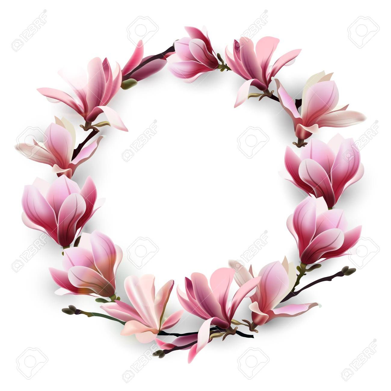 Wreath Of Delicate Flowers Pink Magnolia Template For Birthday Cards Mothers Day Card