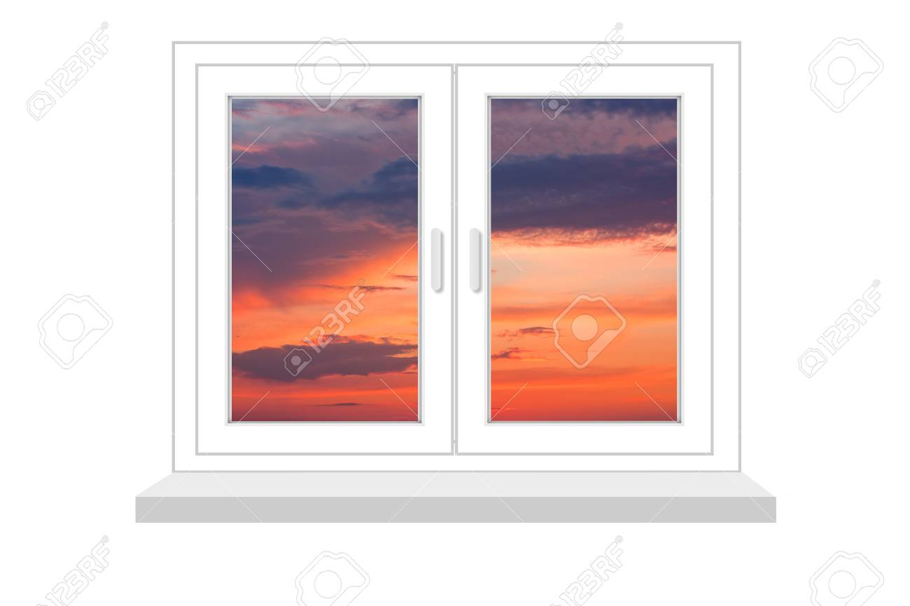 Closed Window With A Kind On Sunset On A White Background, It.. Stock Photo, Picture And Royalty Free Image. Image 19191313.