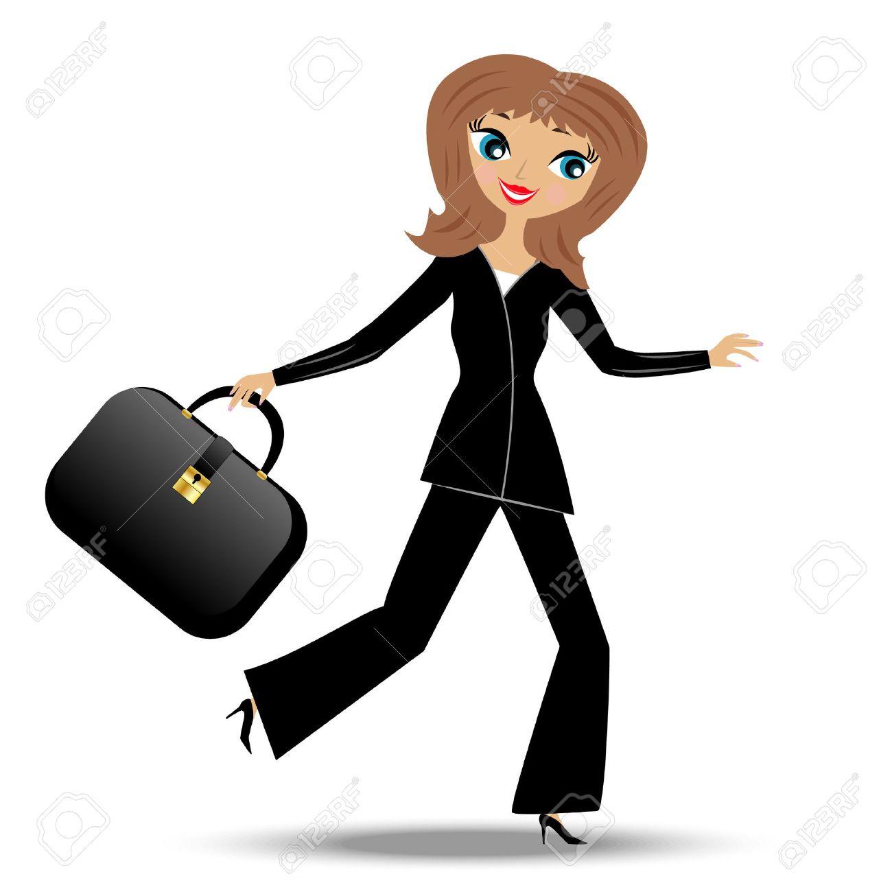若いビジネス女性急いで仕事、ベクトル イラスト ロイヤリティフリー