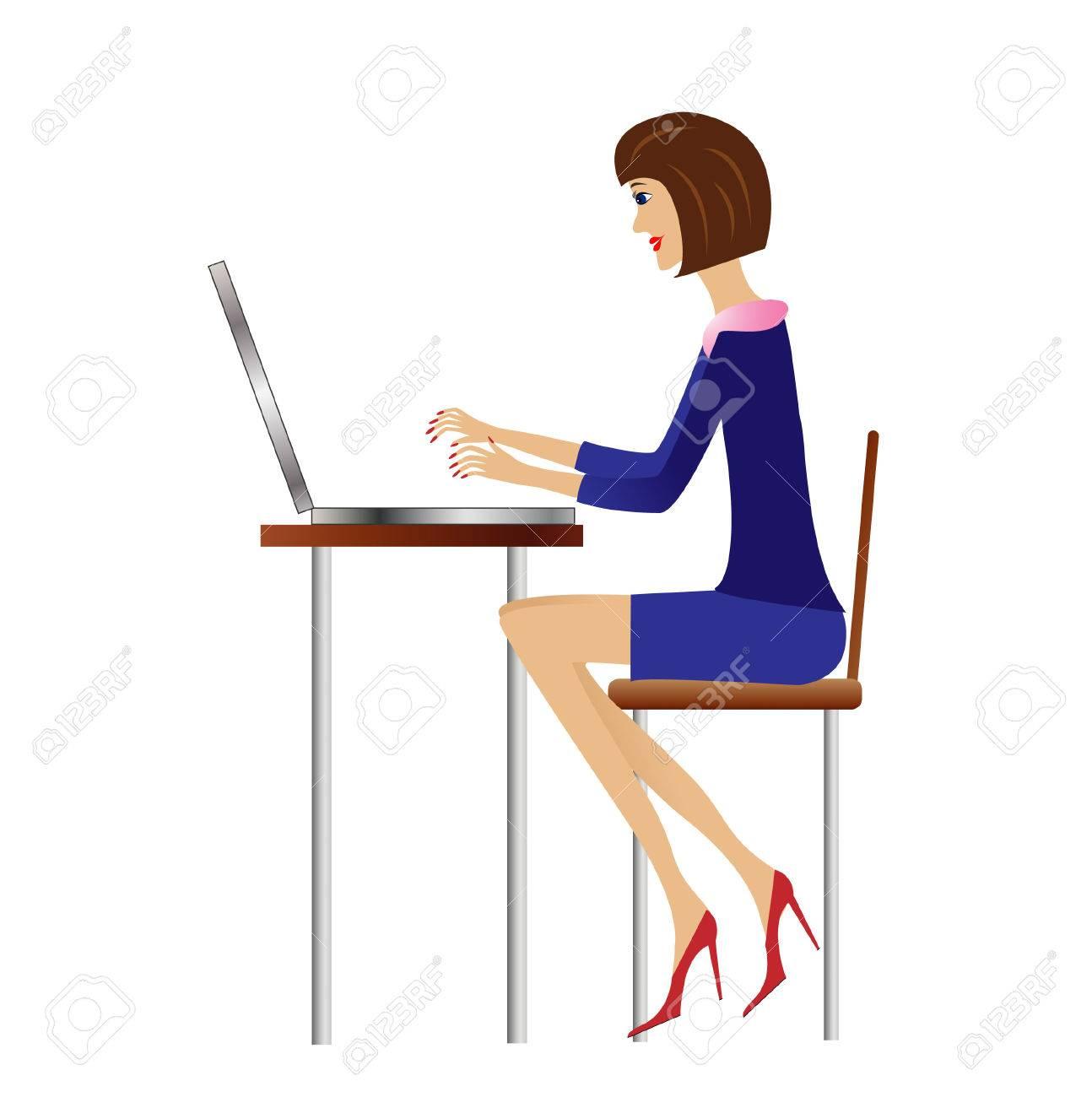 オフィスでは、ベクトル イラスト ビジネス女性仕事 ロイヤリティ