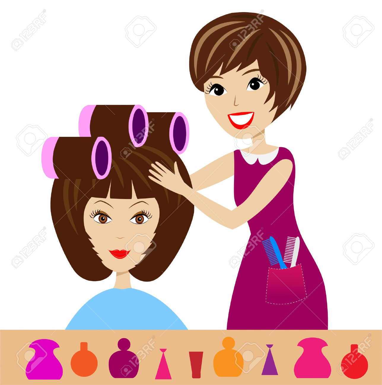 Woman In A Beauty Salon Does Hair Do Illustration Stock Vector