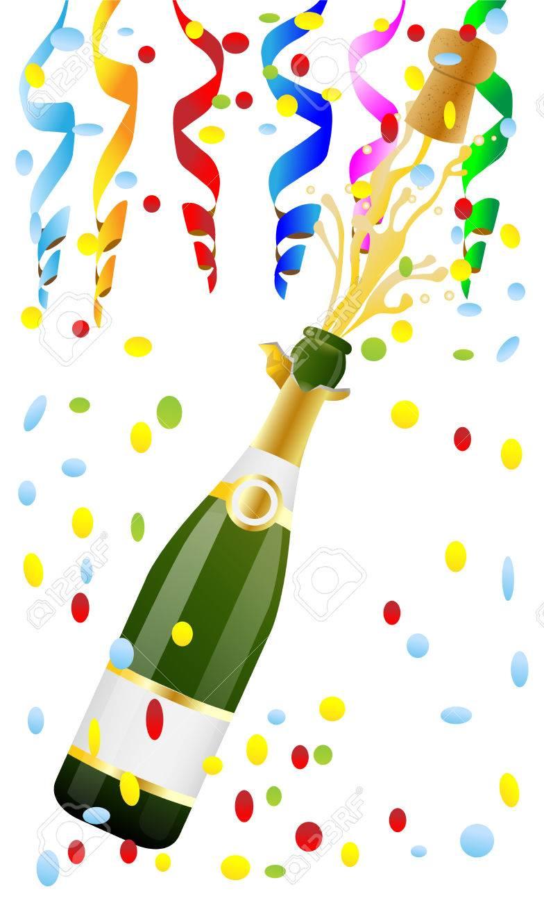 Bouteille Ouverte De Champagne Et En Liege Clip Art Libres De Droits Vecteurs Et Illustration Image 34331579