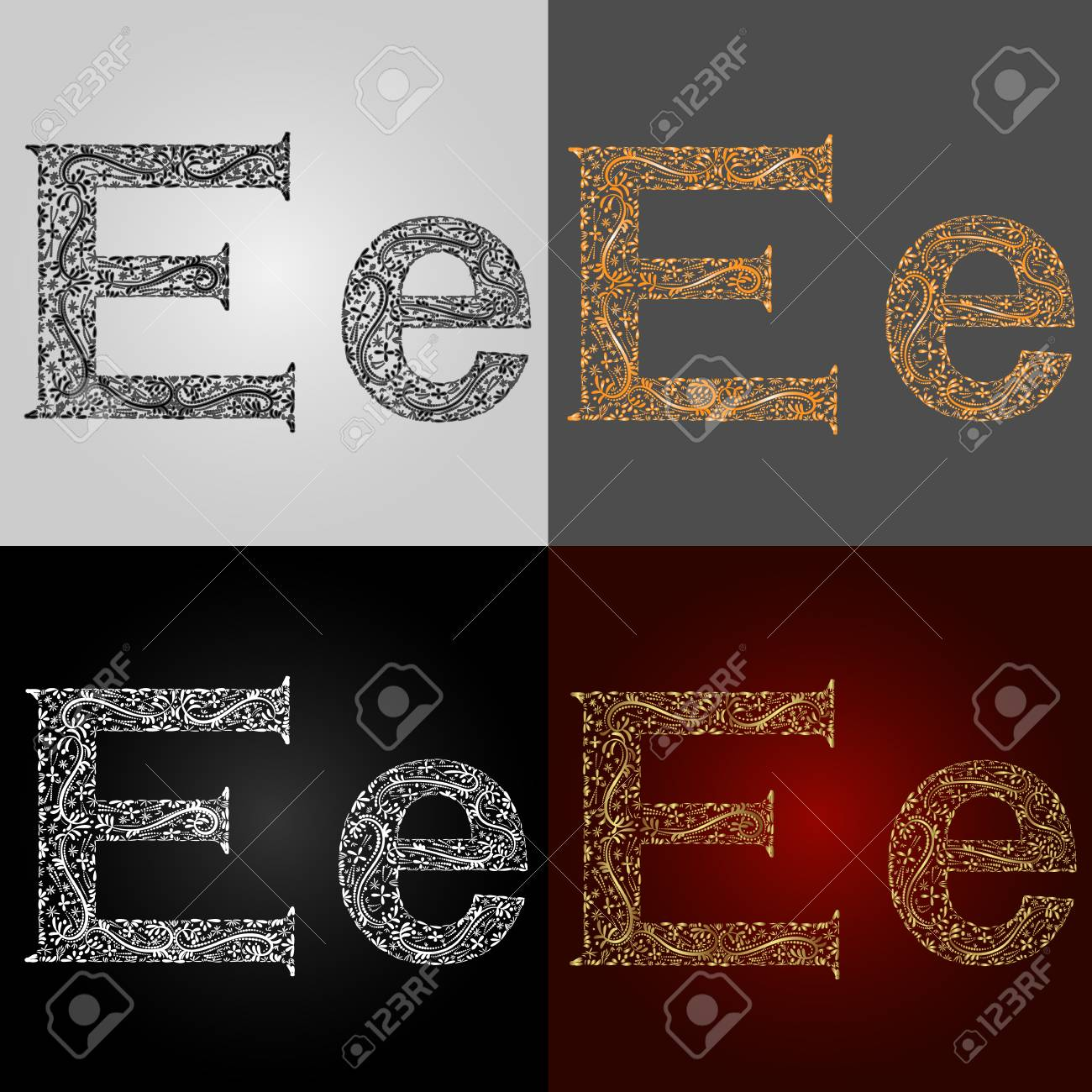 Set Of Alphabet Visual Styles The Letter E Lettering Handmade Stock Vector