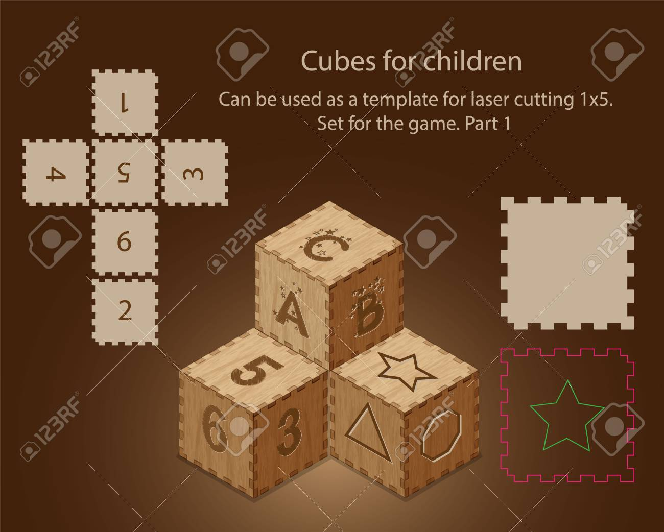 Cube Cut Out Template from previews.123rf.com