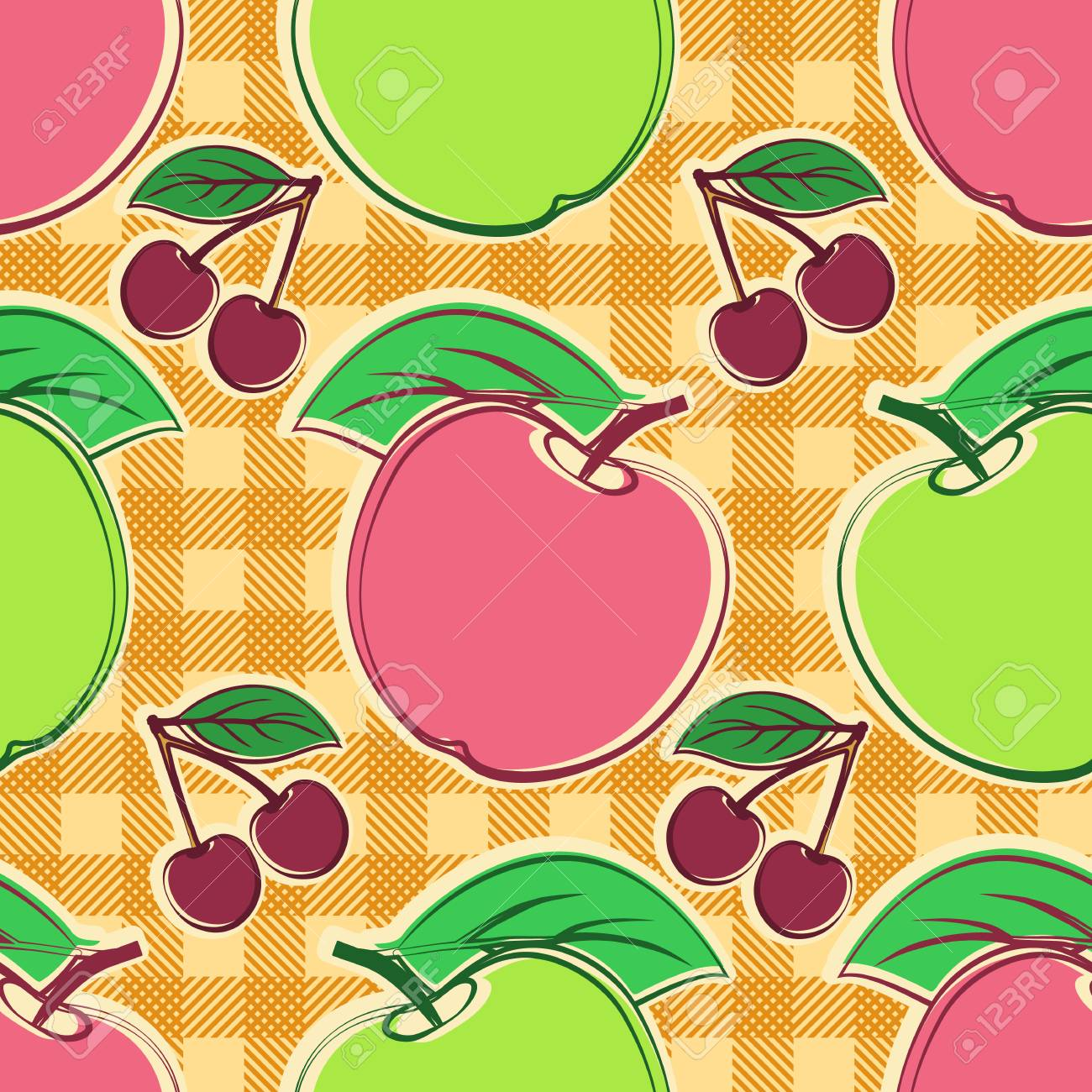 seamless vector pattern with apples and cherry template for