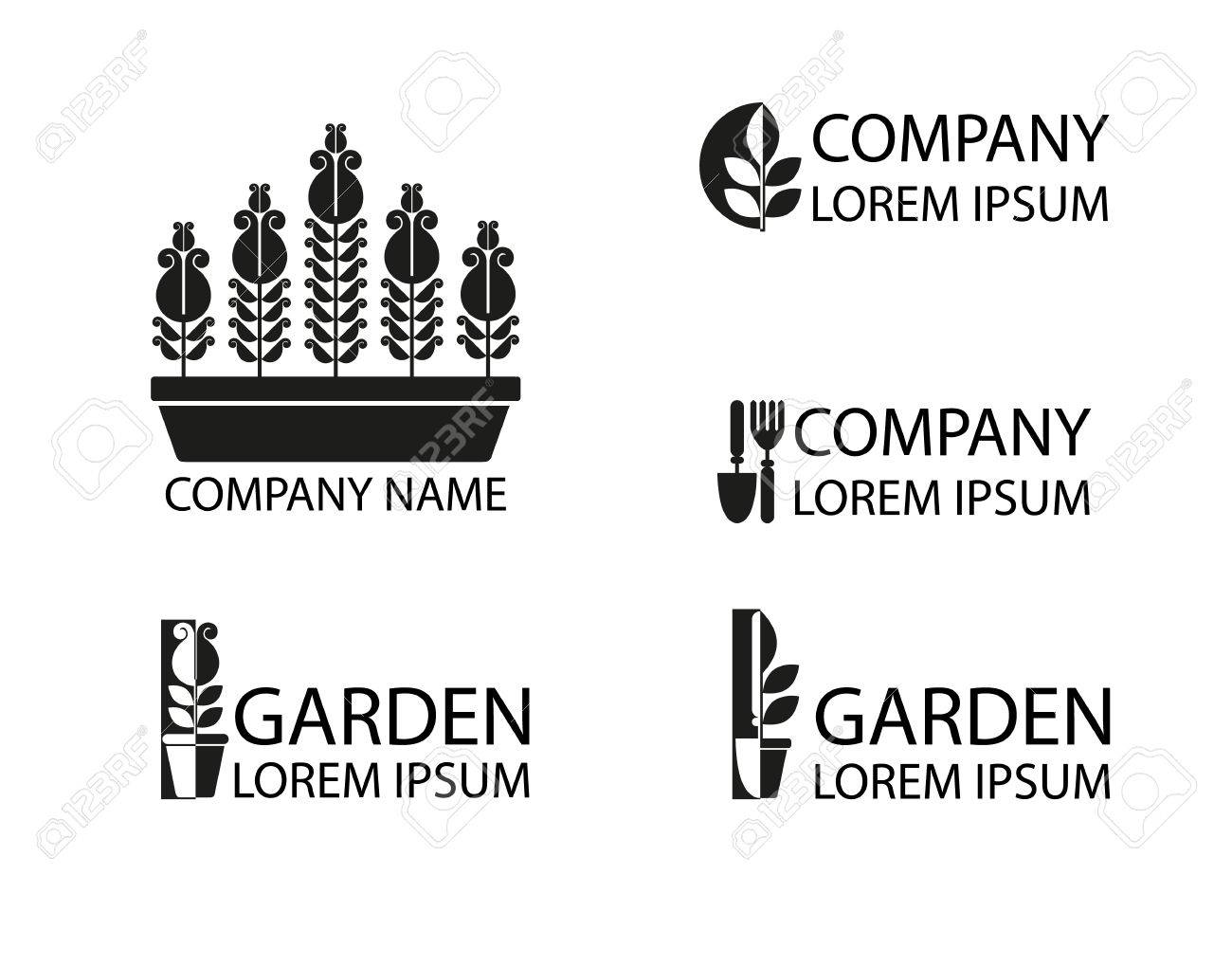 A Set Of Logos, Emblems On The Theme Of Gardening. Good To Use For