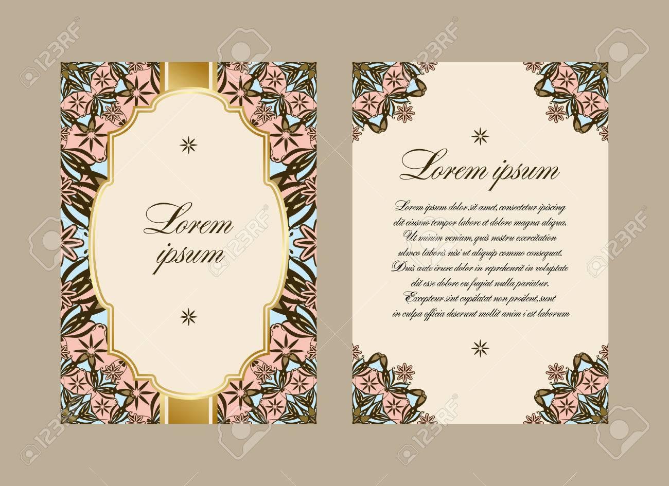 Tarjeta Elegante Con Un Mandala Patrón Floral Modelo Del Vector En Estilo Oriental Los Lados Anverso Y Reverso Perfecta Para La Enhorabuena O La